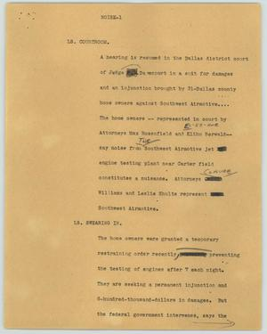 Primary view of object titled '[News Script: Noise]'.