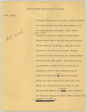 Primary view of object titled '[News Script: Female French film producer in Dallas]'.