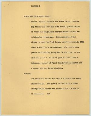 Primary view of object titled '[News Script: Jaycees]'.