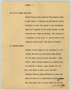 Primary view of object titled '[News Script: Author]'.