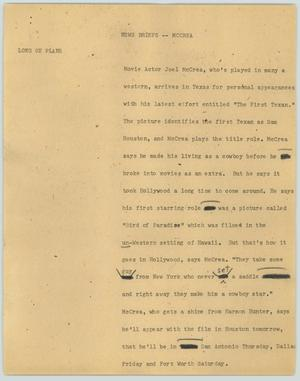 Primary view of object titled '[News Script: McCrea]'.