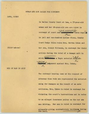 Primary view of object titled '[News Script: Woman and Son Jailed for Contempt]'.