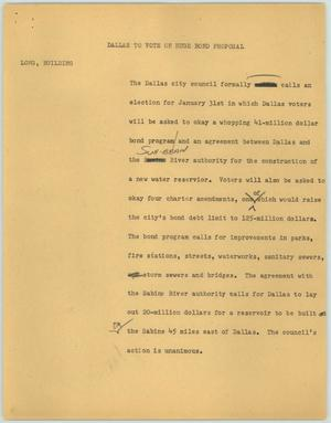 Primary view of object titled '[News Script: Dallas to Vote on Huge Bond Proposal]'.