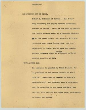 Primary view of object titled '[News Script: Anderson]'.