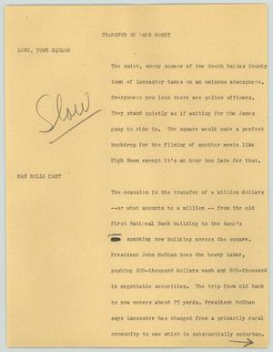 Primary view of object titled '[News Script: Transfer of bank money]'.