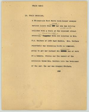 Primary view of object titled '[News Script: Train car]'.