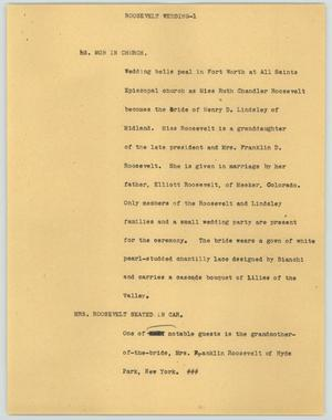 Primary view of object titled '[News Script: Roosevelt wedding]'.