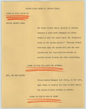 Primary view of object titled '[News Script: Prison board seeks to inform public]'.