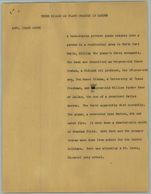 Primary view of object titled '[News Script: Three killed as plane crashes in garden]'.