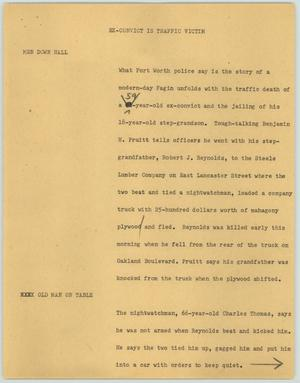 Primary view of object titled '[News Script: Ex-Convict is Traffic Victim]'.