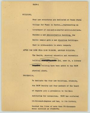Primary view of object titled '[News Script: TSCW]'.