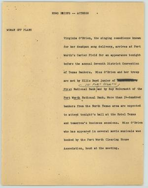 Primary view of object titled '[News Script: News Briefs--Actress]'.