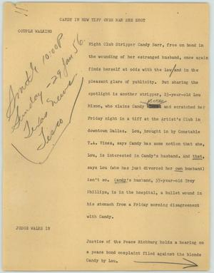 Primary view of object titled '[News Script: Candy in new tiff over man she shot]'.
