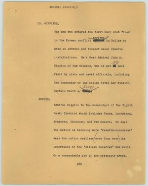 Primary view of object titled '[News Script: Admiral Higgins]'.