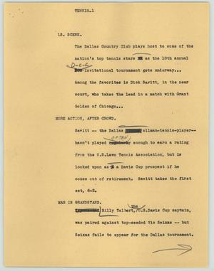 Primary view of object titled '[News Script: Tennis]'.