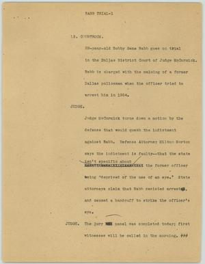 Primary view of object titled '[News Script: Babb trial]'.
