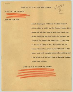 Primary view of object titled '[News Script: Allen Out of Jail, City Bans Pinballs]'.