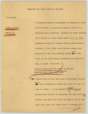 Primary view of object titled '[News Script: Burleson man loses third of business]'.
