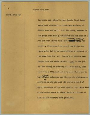 Primary view of object titled '[News Script: County road gang]'.