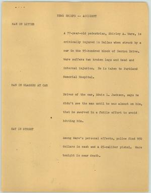 Primary view of object titled '[News Script: News Briefs--Accident]'.