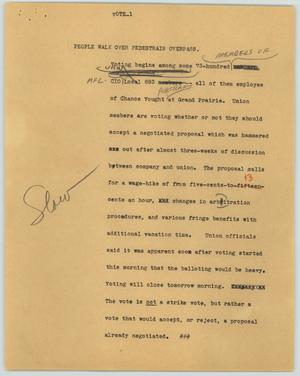 Primary view of object titled '[News Script: Vote]'.