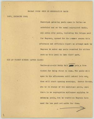 Primary view of object titled '[News Script: Dallas pools open on segregation basis]'.