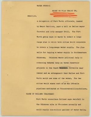 Primary view of object titled '[News Script: Water Story]'.
