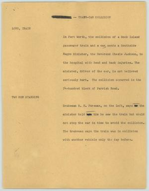 Primary view of object titled '[News Script: Train-Car Collision]'.