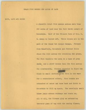 Primary view of object titled '[News Script: Grass Fire Sweeps 200 Acres of Land]'.