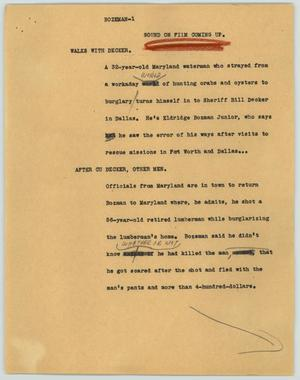 Primary view of object titled '[News Script: Bozeman]'.