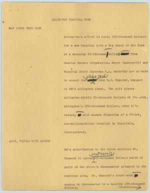 Primary view of object titled '[News Script: Arlington hospital fund]'.