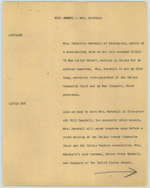 Primary view of object titled '[News Script: Mrs. Marshall]'.