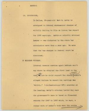 Primary view of object titled '[News Script: Ashby]'.