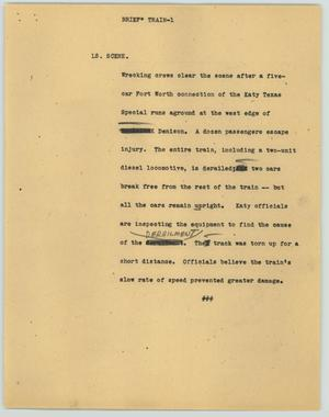 Primary view of object titled '[News Script: Brief--Train]'.