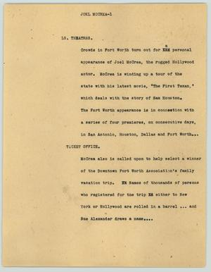 Primary view of object titled '[News Script: Joel McCrea'.