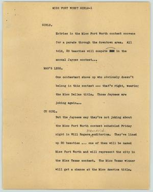 Primary view of object titled '[News Script: Miss Fort Worth girls]'.