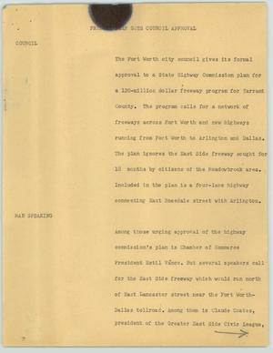 Primary view of object titled '[News Script: Freeway Plan Gets Council Approval]'.