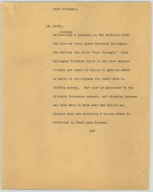 Primary view of object titled '[News Script: Miss Chicago]'.