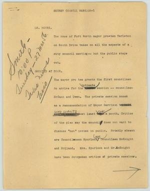 Primary view of object titled '[News Script: Secret council session]'.