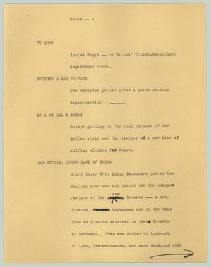 Primary view of object titled '[News Script: Suggs]'.
