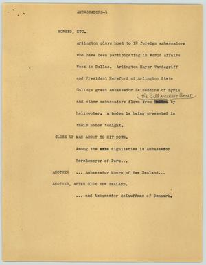 Primary view of object titled '[News Script: Ambassadors]'.