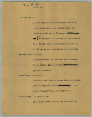 Primary view of object titled '[News Script: Wreck]'.