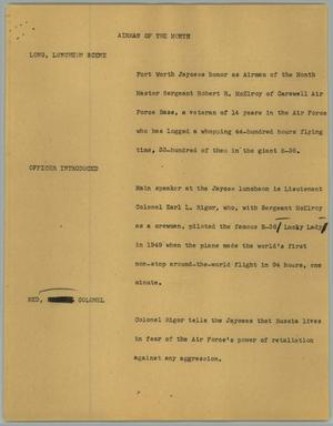 Primary view of object titled '[News Script: Airman of the month]'.