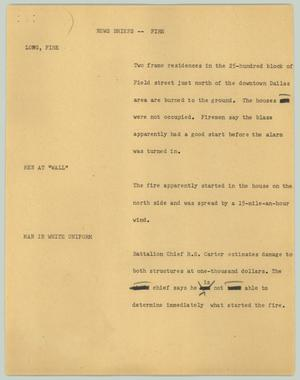 Primary view of object titled '[News Script: News briefs -- fire]'.