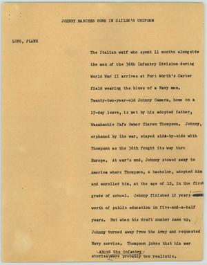 Primary view of object titled '[News Script: Johnny Marches Home in Sailor's Uniform]'.