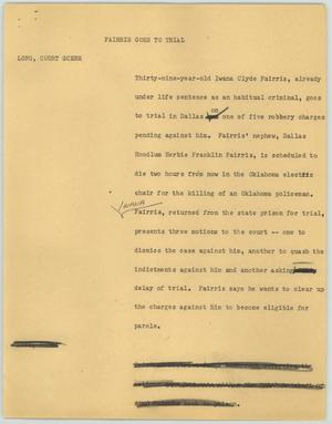 Primary view of object titled '[News Script: Fairris Goes to Trial]'.