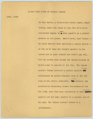 Primary view of object titled '[News Script: 30-day term given on pinball charge]'.
