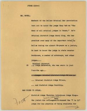 Primary view of object titled '[News Script: Judge King]'.