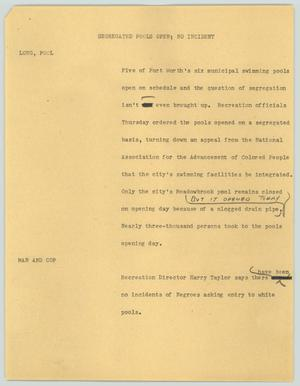 Primary view of object titled '[News Script: Segregated pools open; no incident]'.