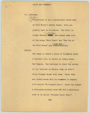 Primary view of object titled '[News Script: Laine and Rogers]'.